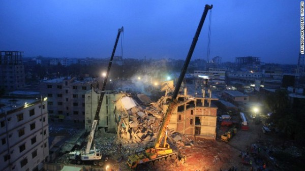 Spectacular collapse of the Rana Plaza in Savar that took over 1100 lives (photo: CNN)