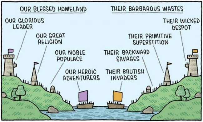 How the 'Ours' and 'Theirs' lenses change worldviews (illustration: Tom Gauld)
